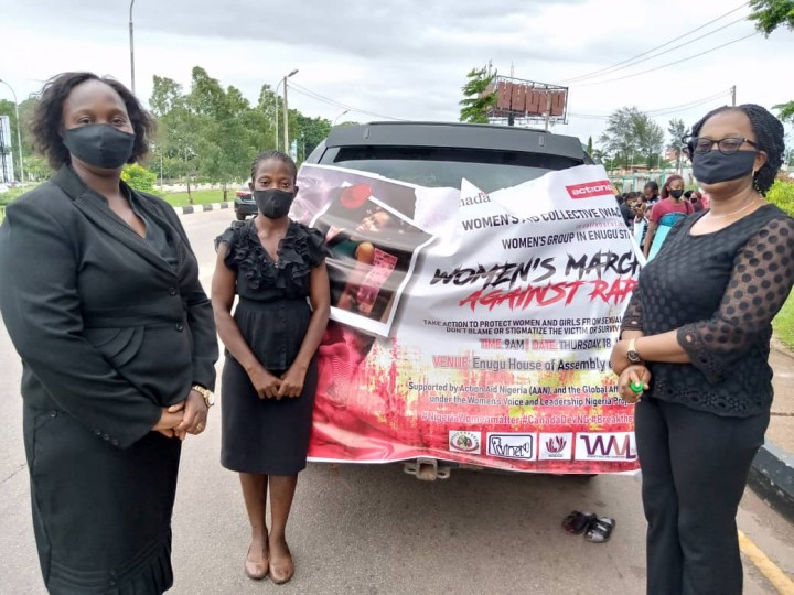 WINET team Ijeoma Obinna-Onwuka, Joy Okeke and Chinelo Dim join Enugu State CSOs  march against rape to Government House on Thursday18th June 2020