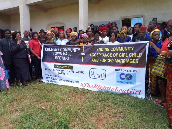 Ebenebe Community people Anambra State Nigeria at the town hall meeting to discuss ending Girl-Child marriage  on 5th November 2019